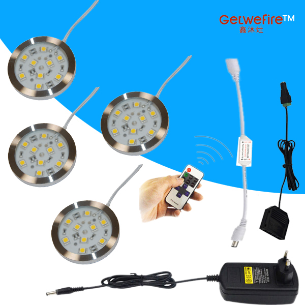 Dimmable 3-5pcs DC 12v 1.8W LED Puck/Cabinet Light,LED spotlight+1 connect wire +12v 12A RF led dimmer+12v 2a adapter
