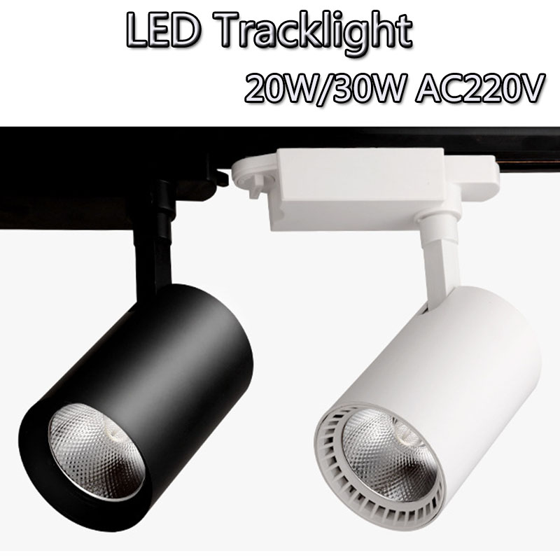 10pcs/lot COB 20W 30W Led Track light aluminum Ceiling Rail Track lighting Spot LED Spotlights Lamps 220V