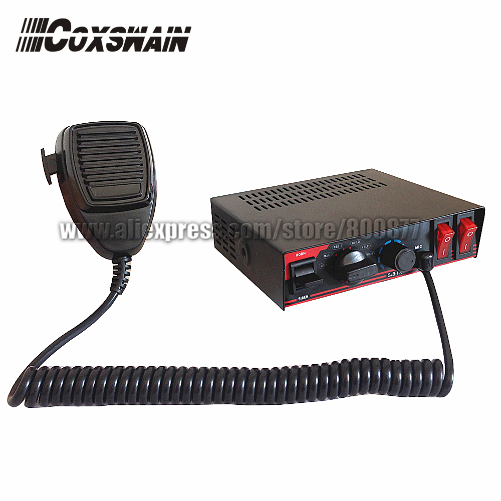 (CJB-100A) Coxswain 100W auto police electronic siren, DC12V, 7 tones with Microphone, 2 light switch (with 1pc X 100W speaker)