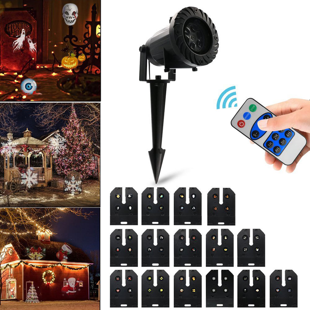 15 Kinds Of Patterns Christmas Rotating Projector Spotlights Aluminum alloy US/UK/EU/AU Plug Festival Decoration Light--M25