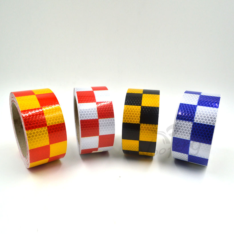 5cmx5m Reflective Warning Tape Self Adhesive Sticker with Red/White Yellow/Red Yellow/Black Blue/White Square for Car