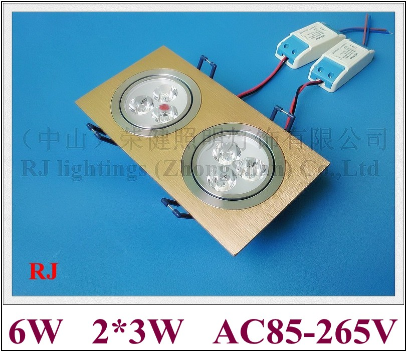grille LED downlight down light ceiling lamp light indoor embeded install 6W (2*3W) high power LED bead AC85-265V aluminum CE