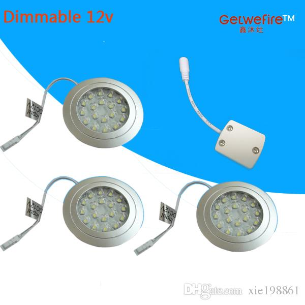 Recessed installation DC 12V 3pcs/lots 1.5W with 18pc 3528 leds LED Puck/Cabinet Light,LED spotlight+1PC connector line(none pow