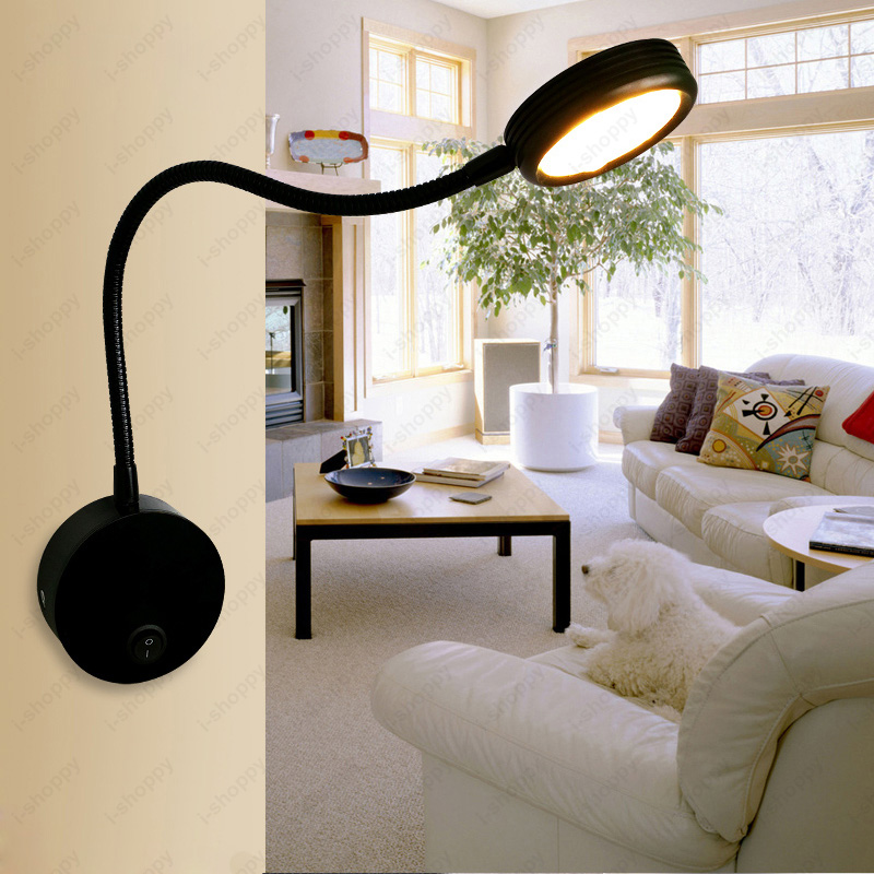 Flexible Pipe 3W/5W LED Picture Light Wall Sconce Lamp On/Off Button Black Shell Cabinet Exhibition Living Room