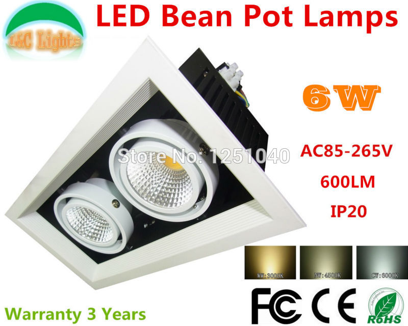 6W LED Bean Pot Lights COB Grille Lamp Super Bright Bean Gallbladder Lamp For Indoor CE RoHS FCC Warm White Cold White 4Pcs/Lot