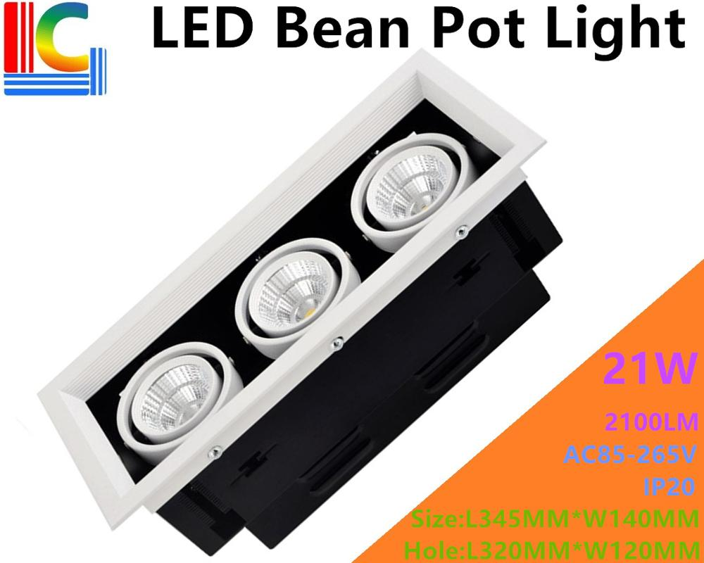 21W LED Bean Pot Light 3 COB LED Grille Lamp Highlighted AC85-265V LED Bean Gallbladder Lamp CE 2100LM Home Lighting 2PCs/Lot