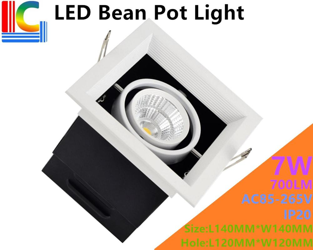7W LED Bean Pot Light AC85-265V LED Grille Lamp Highlighted 110V 220V LED Bean Gallbladder Lamp CE 700LM Home Lighting 4PCs/Lot