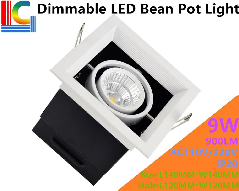 Dimmable 9W LED Bean Pot Light LED Grille Lamp Highlighted AC85-265V LED Bean Gallbladder Lamp CE 900LM Home Lighting 4PCs/Lot