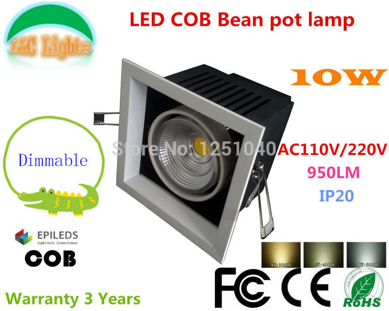 Dimmable AR80 10W LED Bean Pot Light COB LED Grille Lamp Highlighted LED Bean Gallbladder Lamp Warranty 3 Years 4Pcs a lot