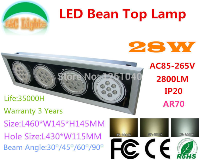 AC85-265V 28W LED Bean Pot Light LED Grille Lamp Highlighted LED Bean Gallbladder Lamp CE RoHS FCC Warranty 3 Years 2Pcs a lot