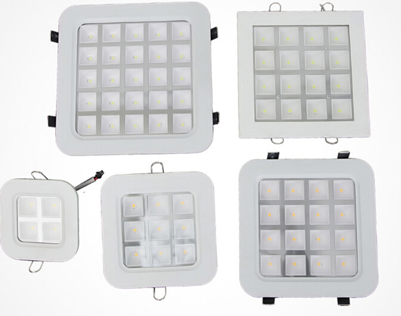 DHLshipping Super 25W Ultra Thin Square Grid Aluminum Recessed LED Grille Lamp kitchen bathroom 215*215mm Down lights AC110-240V