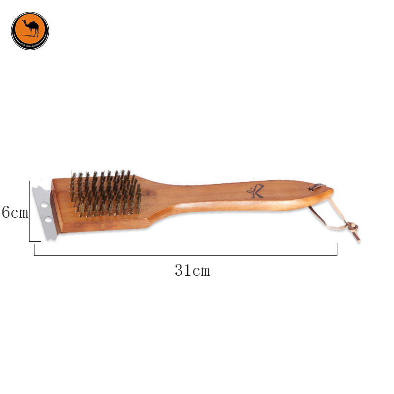 Convenient BBQ Tools 2 in 1 Wood & Copper Wire Grilled Cleaning Brush Barbecue Accessories Portable Outdoor Gadget