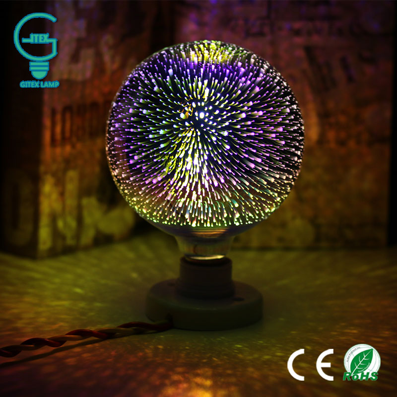 LED Light Bulb E27 3D Fireworks Decorative Edison Bulb 220V Party Lamp A60 ST64 G80 G95 G125 Holiday Christmas Decoration Light