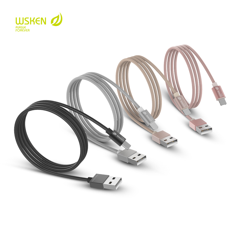 WSKEN 2in1 Micro USB Braided Data Cable For Lightning iPhone Charging Adapter Samsung Xiaomi Huawei Meizu Mobile Phone Cable