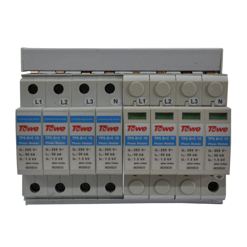 TOWE AP B+C/10 4P Three-phase five-wireB+C protect 8 modulars Iimp 50KA Up 1.5KV complex power surge protector