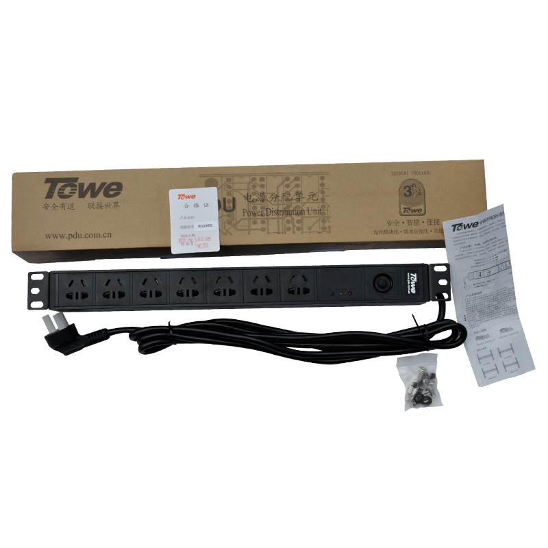 TOWE EN10/G708PS 10A 7 WAYS GB1002 19inch Cabinet socket SPD PDUs