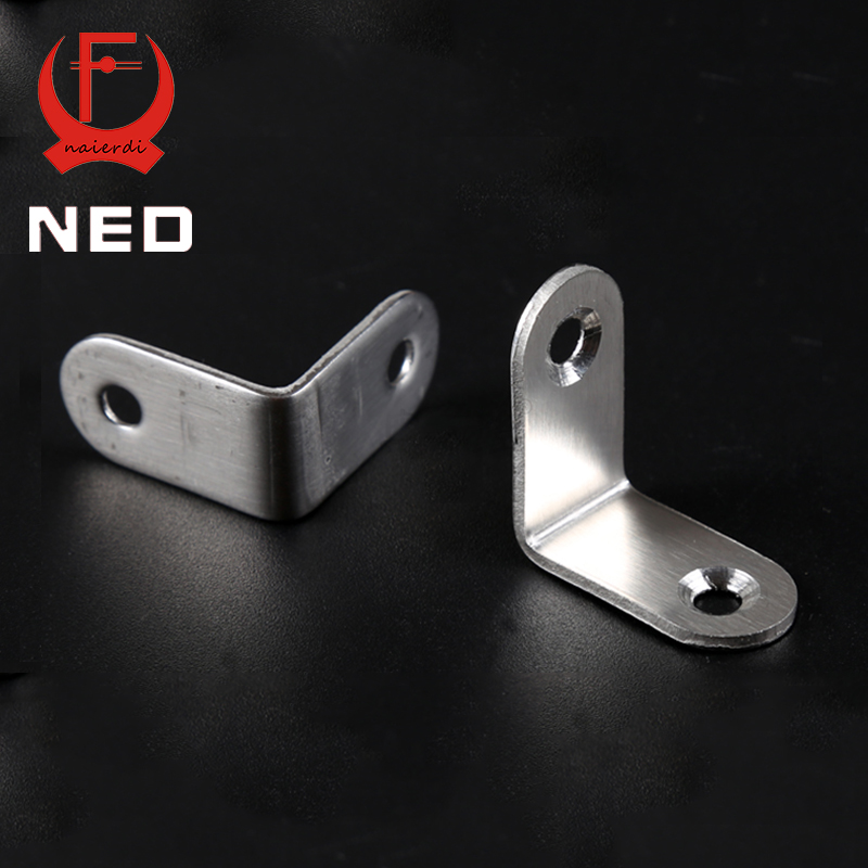 NED 30x30x16mm Practical Stainless Steel Corner Brackets Joint Fastening Right Angle 2MM Thickened Furniture Bracket With Screws