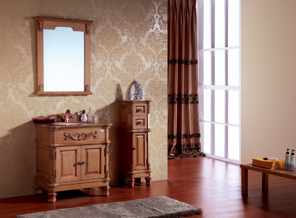 Elegant Solid Wood Carved Bathroom Cabinet 0281-8047