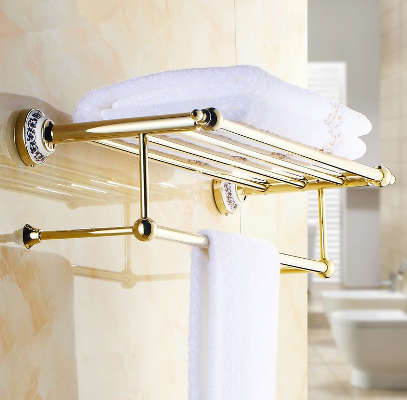 2016 Luxury  Gold Design Towel Rack,Modern Bathroom Accessories Towel Bars Shelf ,Ceramic Base Towel Holder /toalheiros