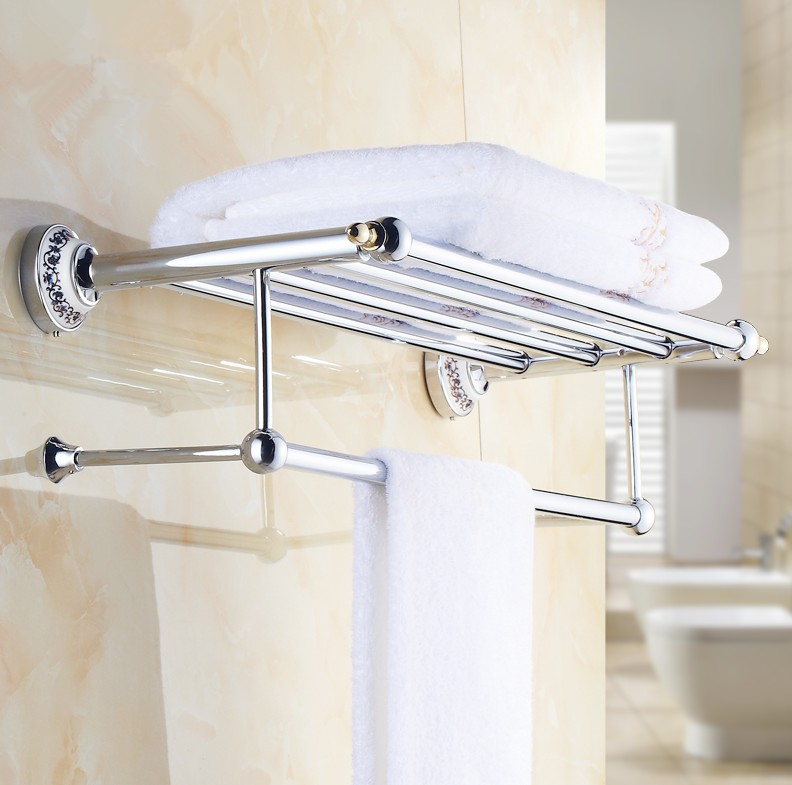 2016 Luxury Chrome Design Towel Rack,Modern Bathroom Accessories Towel Bars Shelf ,Ceramic Base Towel Holder /toalheiros