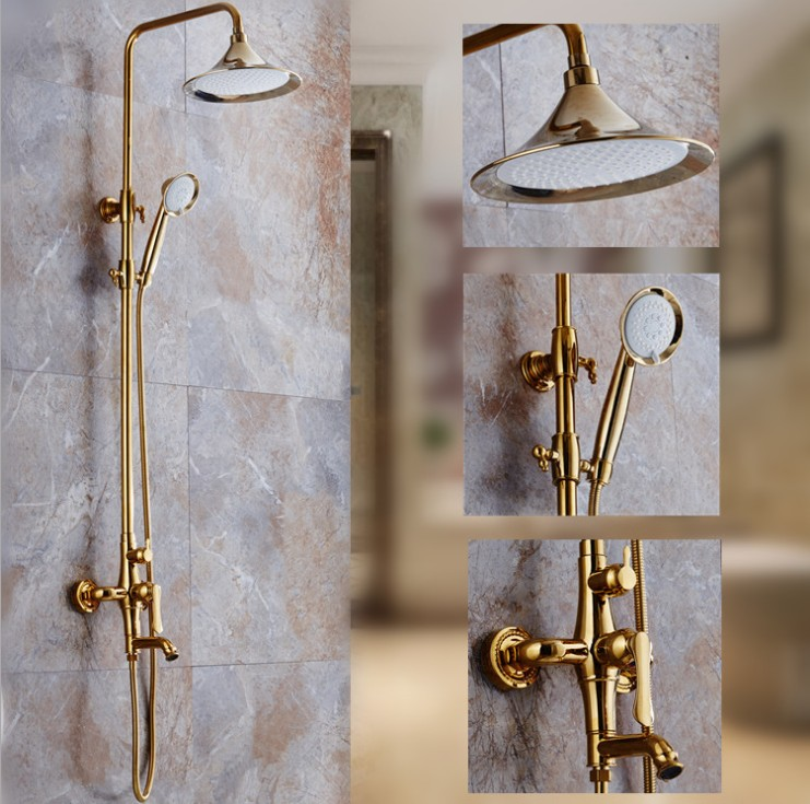 Europe  Luxury Gold Finish House Construction Bathroom Hot and Cold Water Shower Faucet Set/Wall Mounted Bathtub Copper Faucet