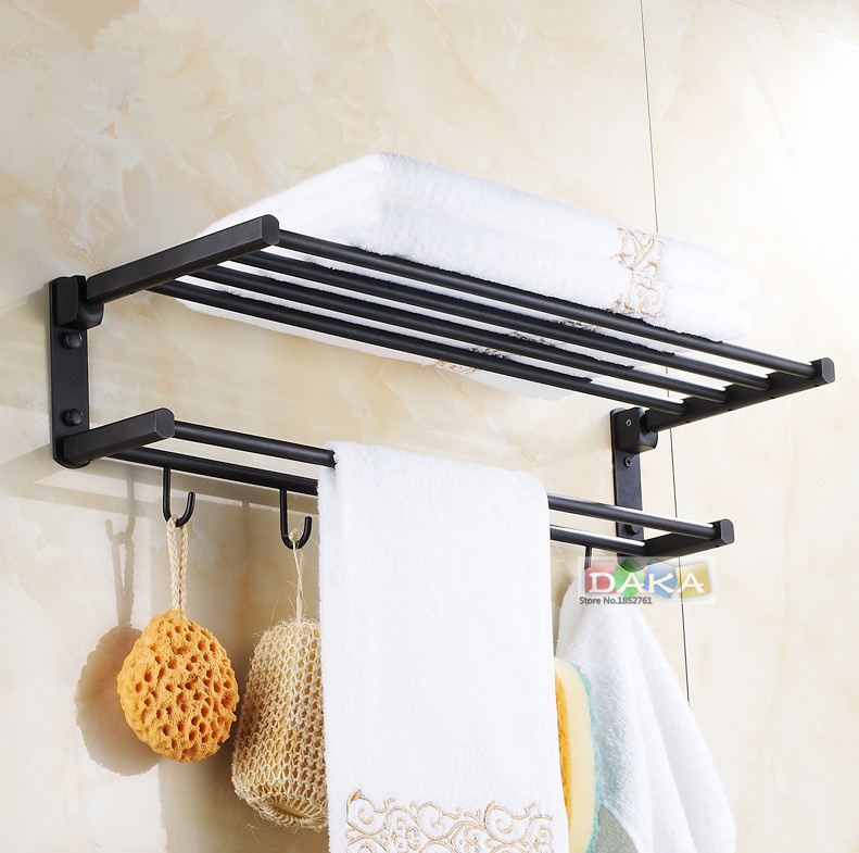 Fashion Antique Brass Black Towel Rack, Bathroom Luxury Accessories Towel Bars Shelf ,Bronze Towel Holder With Hook /toalheiros