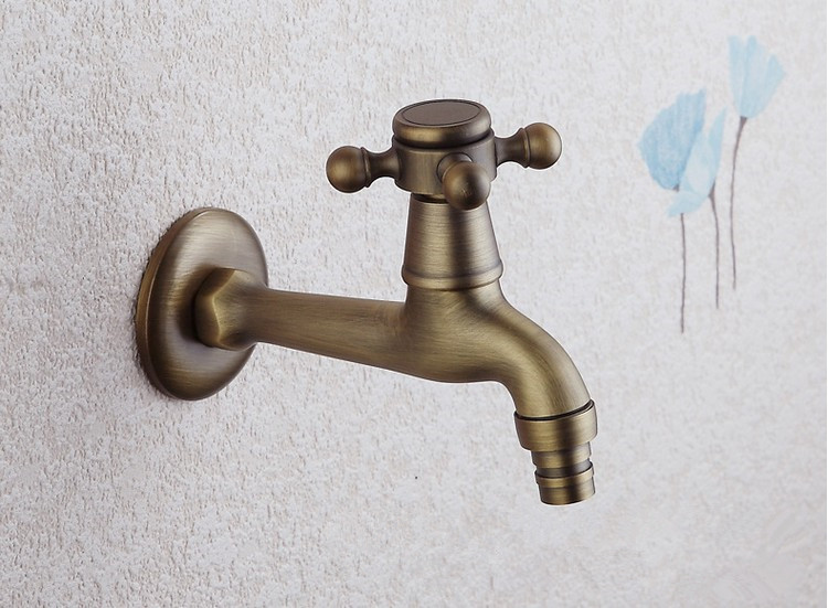 Long garden use Bibcock  faucet tap/ Antique Brass Bathroom Wall Mount Washing Machine Water Faucet Taps