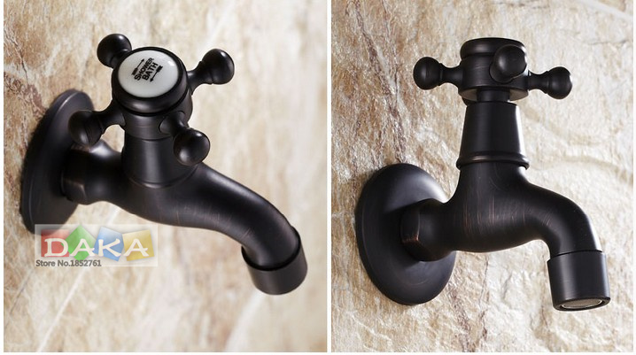 Antique Wall Mounted Oil Rubbed Bronze Black Finish Washing Machine Taps Single Handle Bibcocks Cold Water Faucet /Mop Pool Taps