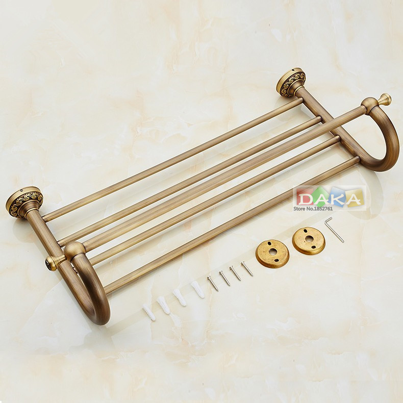 2016 Fashion Carving Flower Antique Brass Towel Rack ,Bathroom Luxury Accessories Towel Bars Shelf ,Europe Bronze Towel Holder