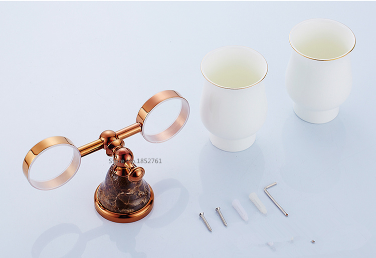 Bathroom Accessories,Luxury European Style Copper Rose Gold Finish Toothbrush Tumbler&Cup Holder ,Marble Design ,bath product