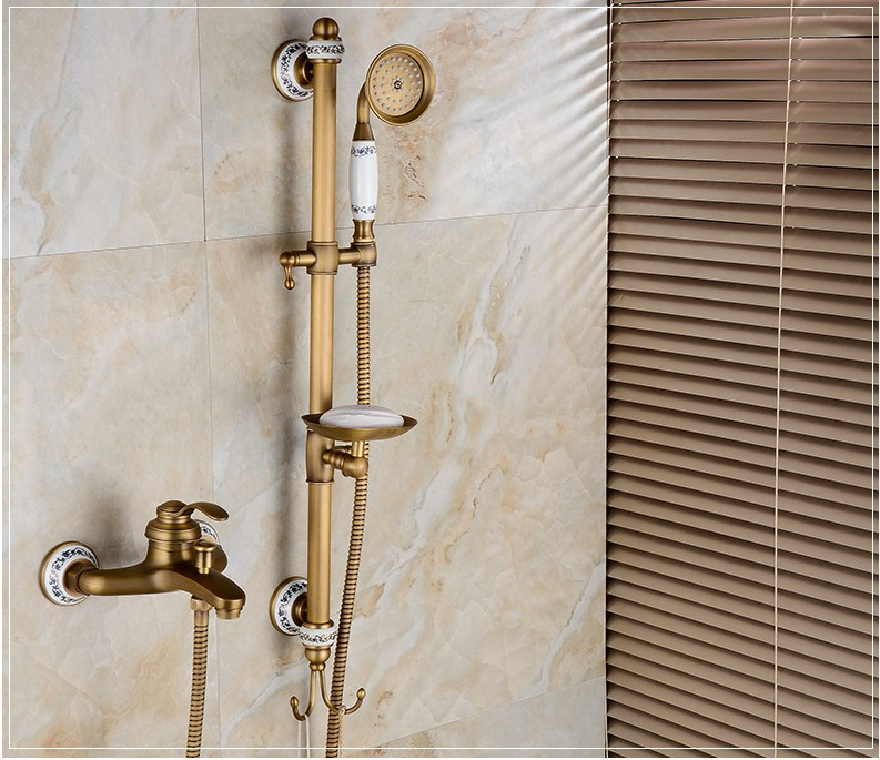 2016 New Antique Brass Finish Bathroom Mixing Valve Hot and Cold Water Bath Shower Faucet Set /Wall Mounted bath tub Faucet