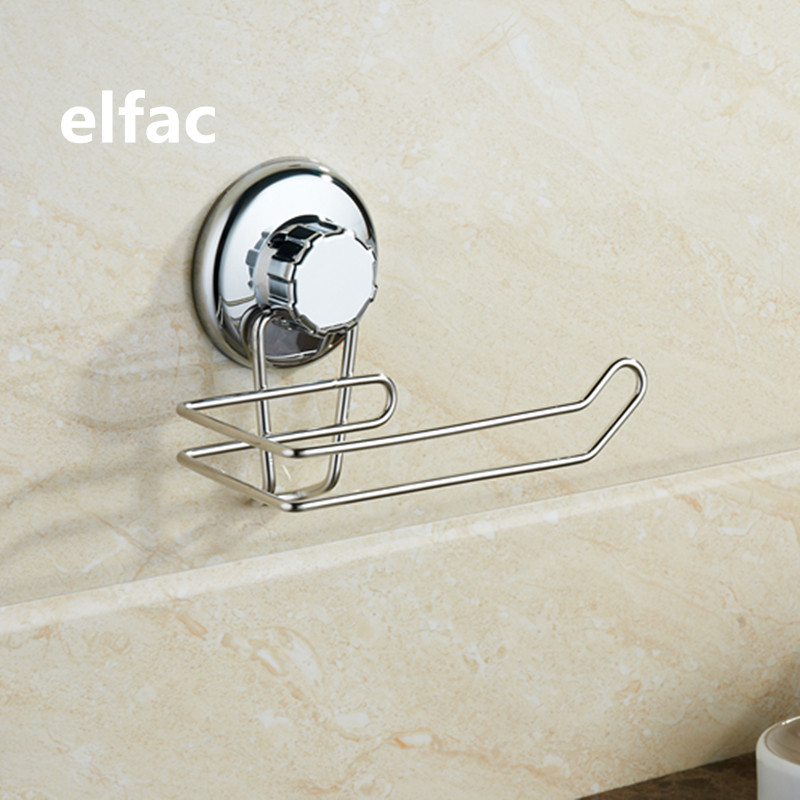 ELFAC Simple Paper Holder High Quality Bathroom Accessories Electroplating Sucker And Stainless Steel Paper Holder