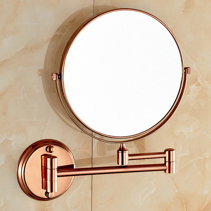 Bathroom Magnifying Makeup Mirror, Double-Sided 1X/3X, Extendable Folding Arm, Wall Mounted Vanity Round Mirrors, Solid Brass