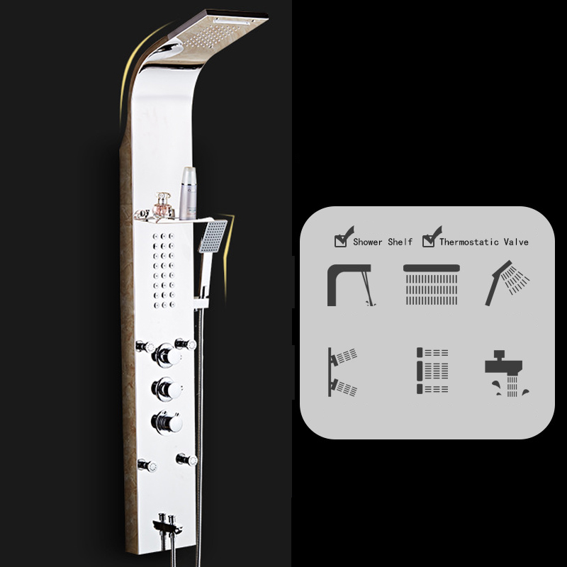 Stainless Steel Rainfall Shower Panel Rain Massage System with Jets & Hand Shower, PZ-1,  LED screen