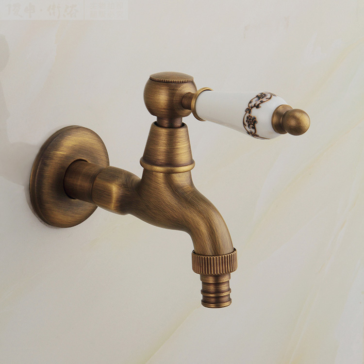 Classic Antique Bronze Finish Ceramic Handle Washing Machine Faucet Toilet Faucet Only Cold Water Faucet Wall Mount