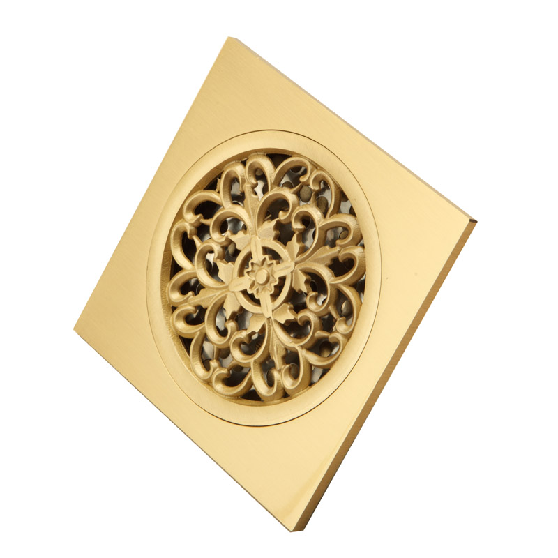 ... New Arrival Brass Polished Bathroom Wetroom Square Shower Drain Floor  Trap Waste Grate Round Cover Hair