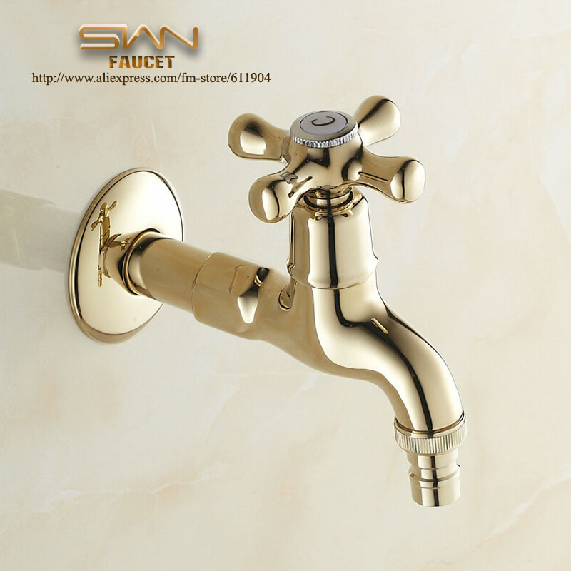 Gold Color Oil Rubbed Bronze Long Bathroom Faucets Basin Garden Faucet Wachine Machine Water Cold Tap