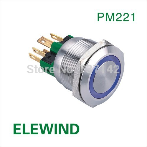 ELEWIND 22mm Ring illuminated  lock on-off push button switch(PM221F-11ZE/B/12V/S)