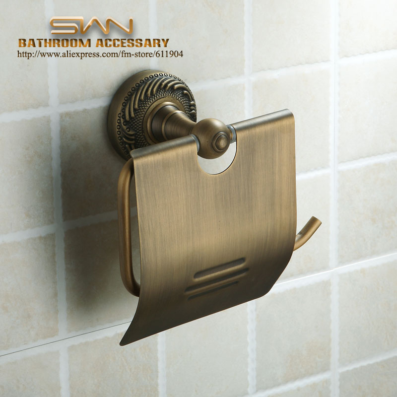 Antique Brass Finish Wall Mounted Paper Roll Toilet Tissue Holder 3311601