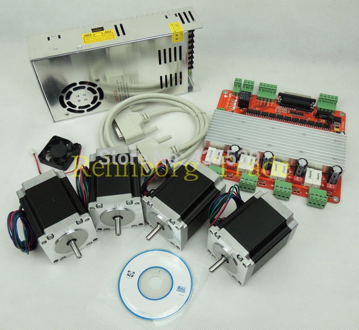 CNC 4 Axis stepper motor controller kit, TB6560 4 Axis stepper motor driver +breakout board +4pcs 270 oz-in motor+power supply