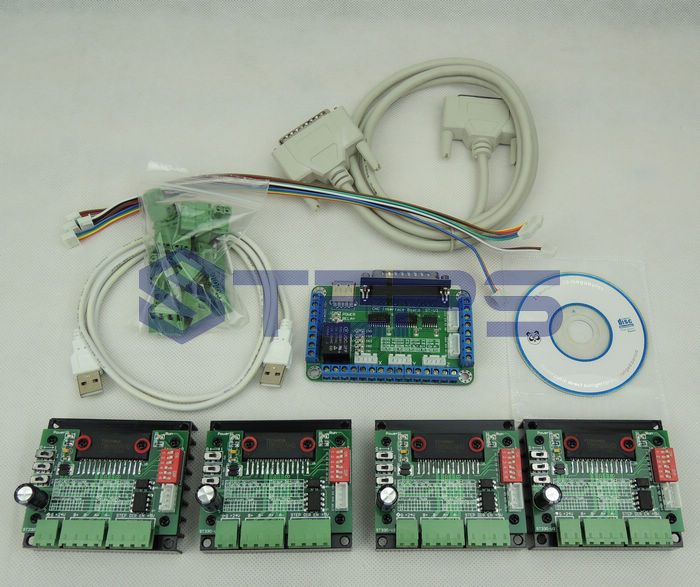 4 axis CNC kit ,nema23 3A 270 oz-in motor(Dual shaft 6.35mm) + CNC 4 Axis TB6560 Stepper motor driver+one Power supply