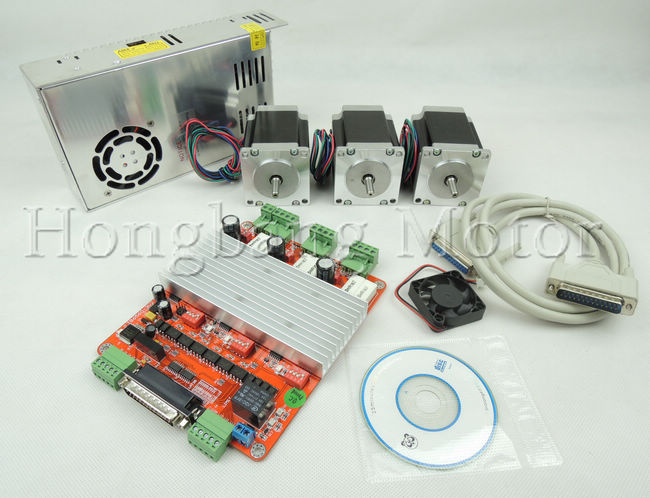 3 axis CNC controller kit,CNC 3 Axis TB6560 3.5A Stepper Motor Driver+ nema23 270 oz-in motor  +250W Power supply