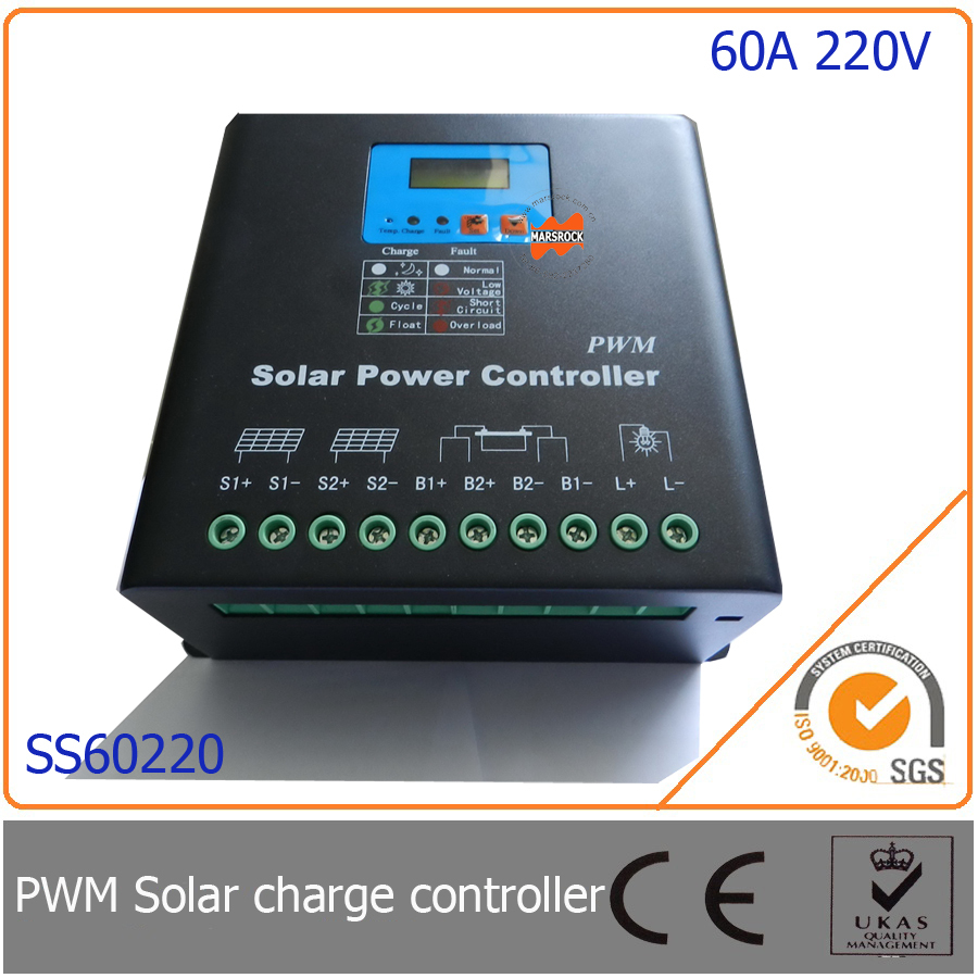 60A 220V PWM Solar Charge Controller with LED&LCD Display, Auto-Identification Voltage, MCU design with excellent performance