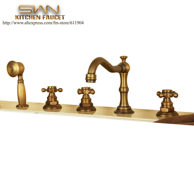 Antique Brass Deck Mount Five PCS Bathroom Faucet Bathtub Basin Sink Mixer Tap Cold Hot Water taps With Hand Shower Head 5 Hole