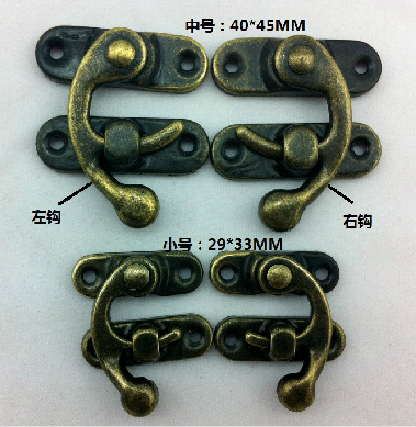 50Pcs 40 * 45MM box padlock hasp hook horns locked wooden wine gift box buckle medium shackle lock horns(rigth)