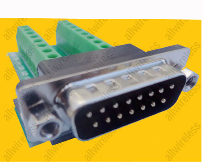 DB15 Male 15 Pin Port Signals Breakout Board, DB15 Male 15 Pin Port terminal adapter plate