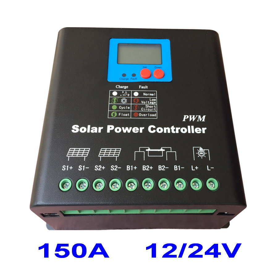 150A Solar Controller PV panel Battery Charge Controller Regulator 12V 24V Solar System Home Indoor Use New