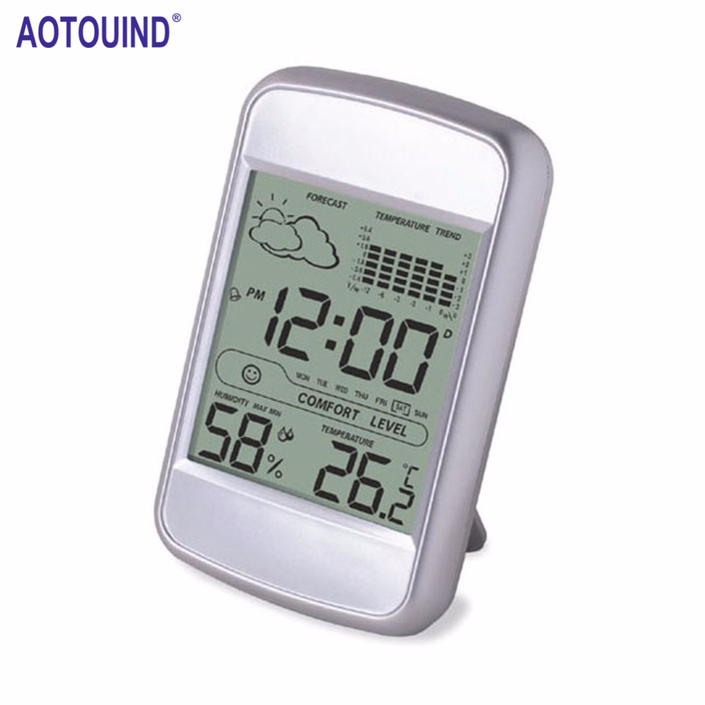 AOTOUIND Digital Wireless Weather Station with Indoor Digital Thermometer Hygrometer Alarm Snooze Clock #T09