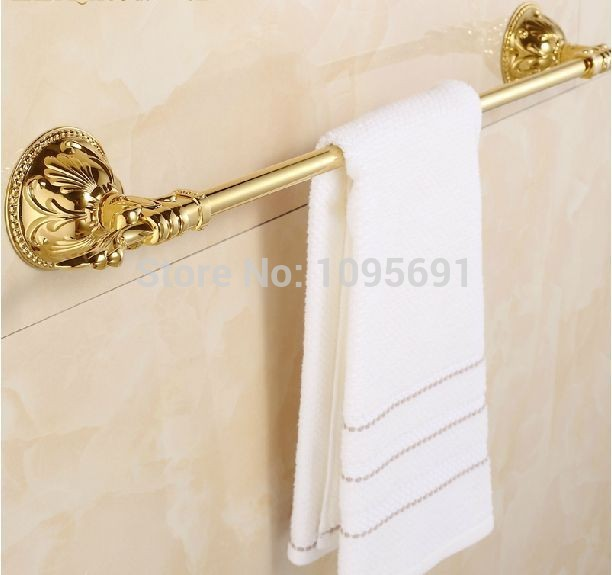 European classical Roman style Gold-plated Solid Brass Golden single owel Bar,Gold Towel Holder Rack Tail