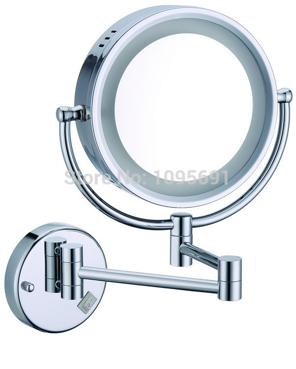 "8"" round makeup mirrors dual sides 3X mirrors dual arm extend cosmetic wall mount magnifying cosmetic  mirror"